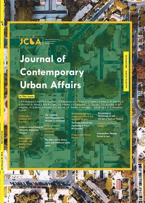 journal of contemporary urban affairs , Conflict and divided territories, Emerging cities, urban ecology, morphology, Infra Habitation ,Slums ,Affordable houses, Gated communities, Revitalization, regeneration and urban renewal, Housing studies livability, responsive environment, quality of life , Contemporary urban issues , politics, strategies, sociology, Crime, Immigration , international labor migration , New urbanism, Rapid urbanization, Urban sprawl.